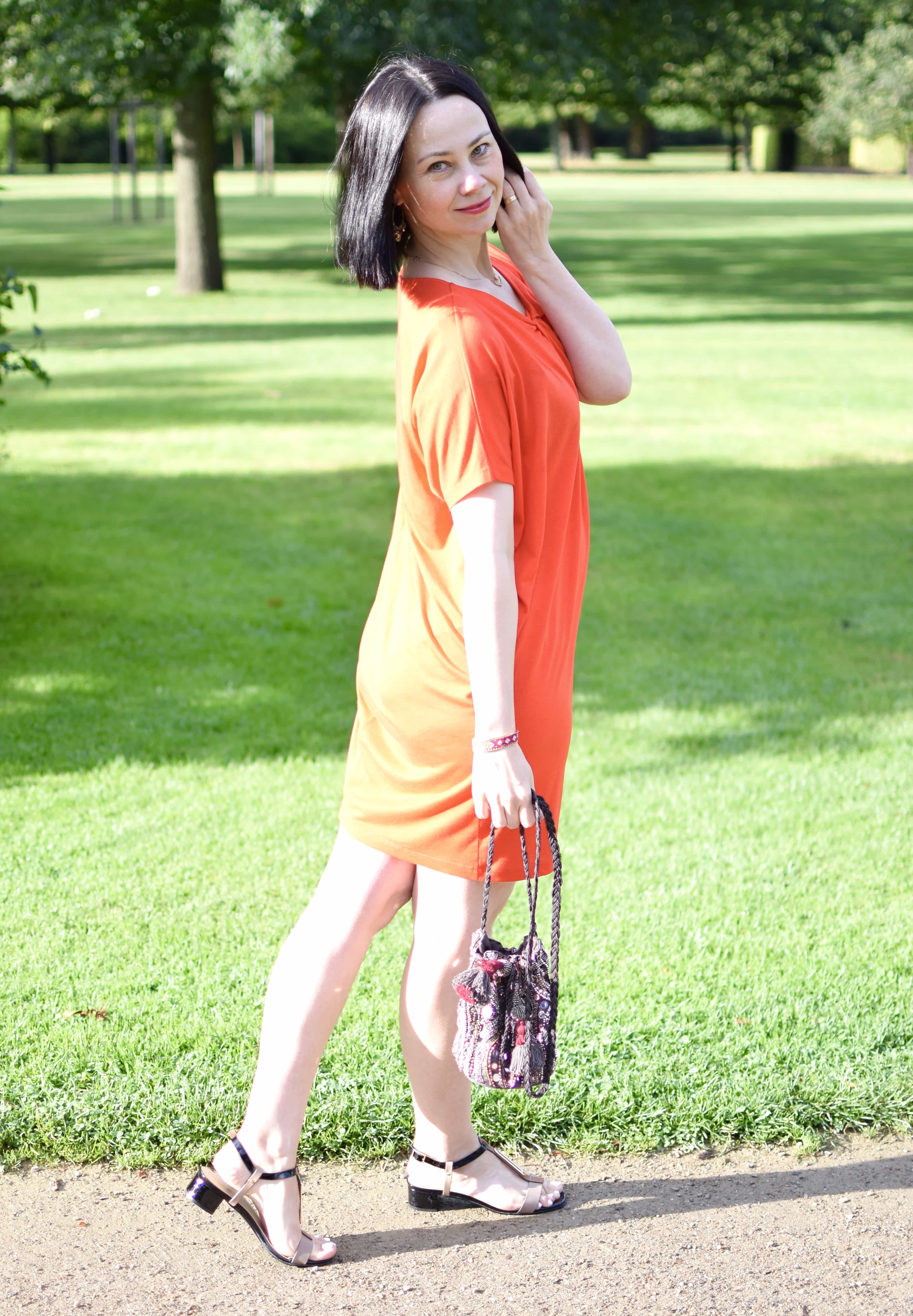 bright tunica dress